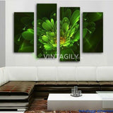 Bright green flower 4 Pcs Wall Canvas