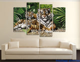 African Tigers 4 Pcs Wall Canvas