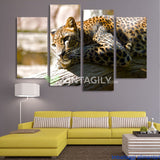 African Leopards Sitting 4 Pcs Wall Canvas
