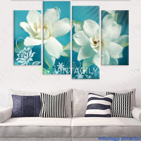Art Flowers Blue 4 Pcs Wall Canvas