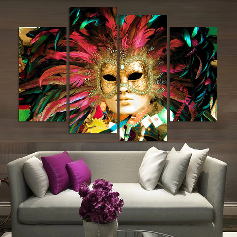 Fancy Mask 4 Pcs Wall Canvas