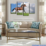 Black Horse Blue Sky 4 Pcs Wall Canvas
