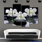Black White Flower 4 Pcs Wall Canvas