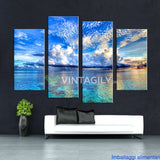 Blue Sea Sky 4 Pcs Wall Canvas