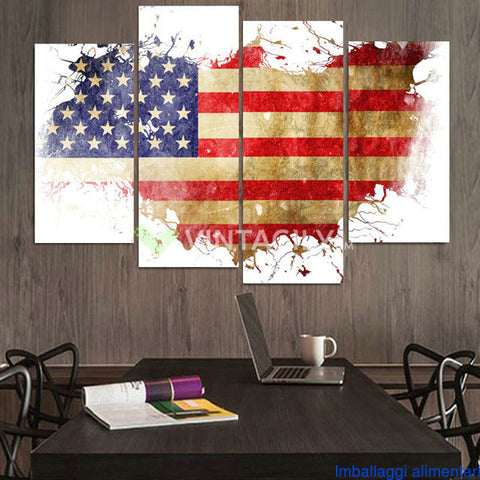 American Map Bay 4 Pcs Wall Canvas -  - TheLedHeroes
