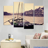 Boat Seaview 4 Pcs Wall Canvas