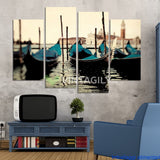 Blue boat Seascape 4 Pcs Wall Canvas