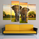 Elephants 4 Pcs Wall Canvas