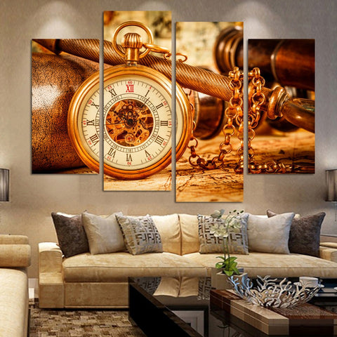 Fashion Vintage Clock 4 Pcs Wall Canvas