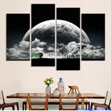 Black and white Moon 4 Pcs Wall Canvas