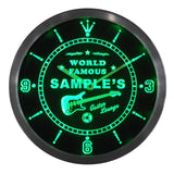 Guitar Band Room Bar Pub LED Wall Clock - Green - TheLedHeroes