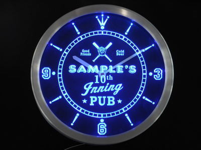 Baseball 10th Inning Pub Bar LED Wall Clock -  - TheLedHeroes