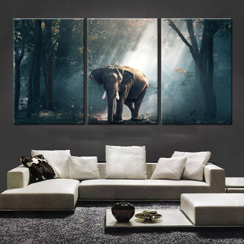 Elephant landscape 3 Pcs Wall Canvas -  - TheLedHeroes