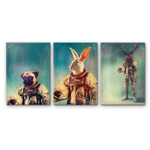 Astronaut Animals 3 Pcs Wall Canvas -  - TheLedHeroes