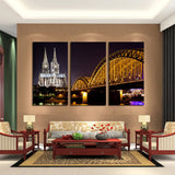 Building with Bridge 3 Pcs Wall Canvas