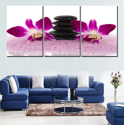 Purple orchid 3 Pcs Wall Canvas -  - TheLedHeroes