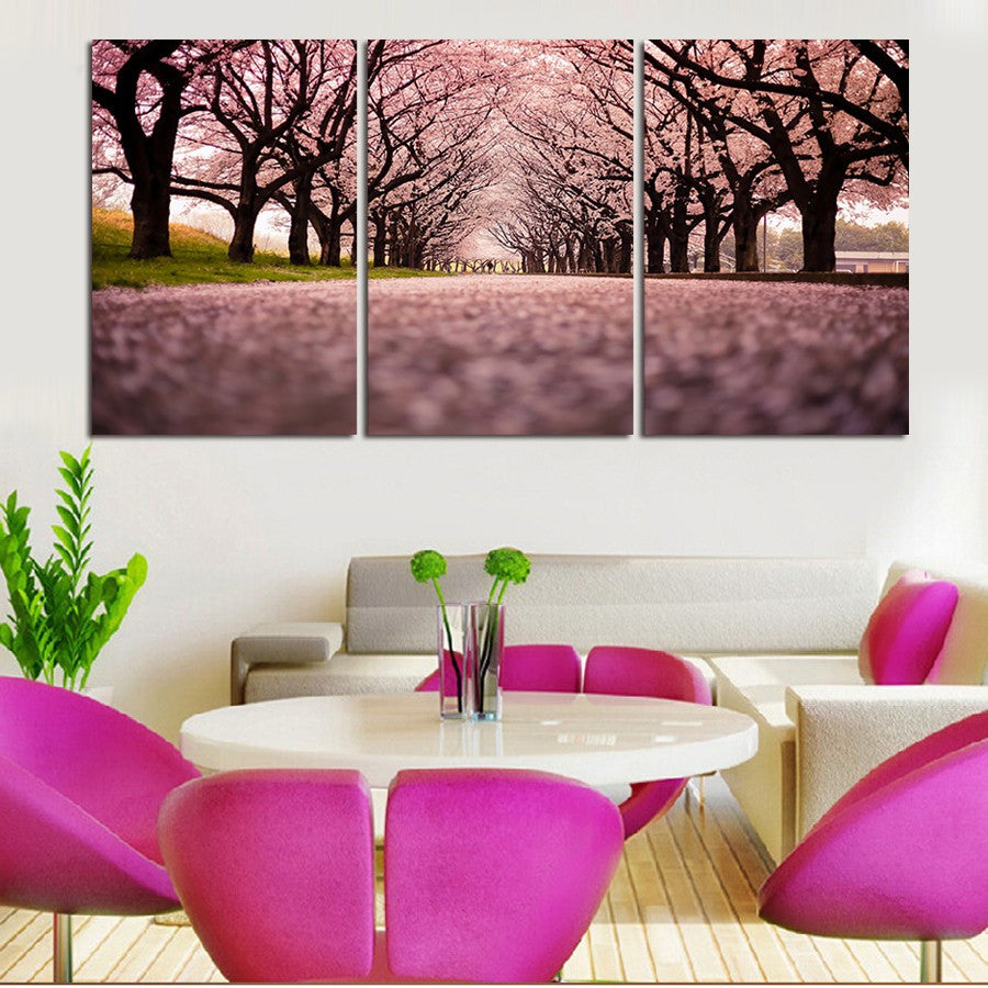 Alley of trees 3 Pcs Wall Canvas