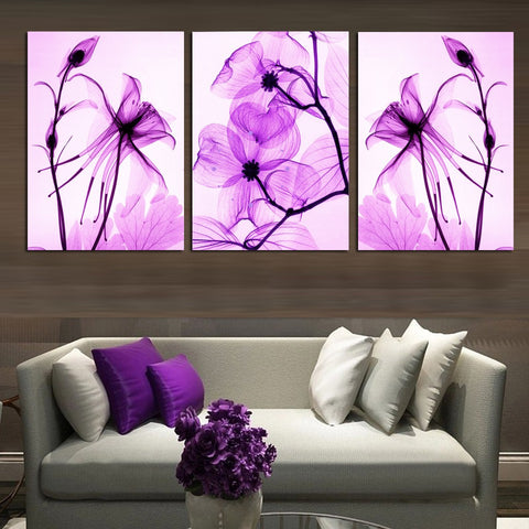 Purple Abstract Flowers 3 Pcs Wall Canvas -  - TheLedHeroes