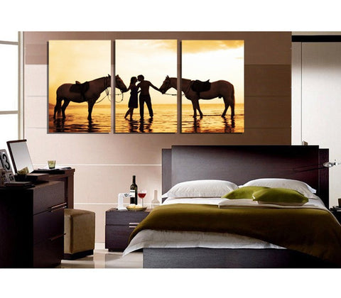 Horses and Humans3 Pcs Wall Canvas -  - TheLedHeroes