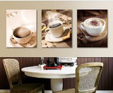 Cups of coffee 3 Pcs Wall Canvas