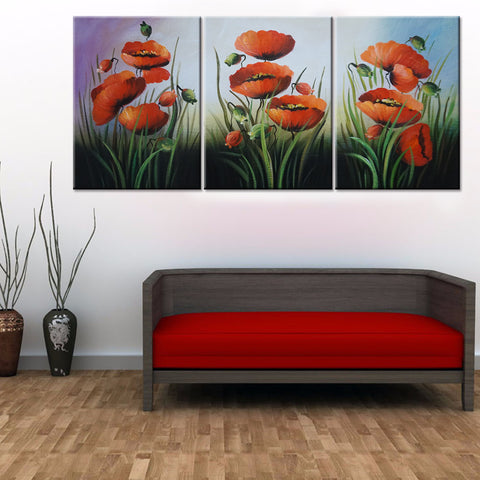 Beautiful flowers 3 Pcs Wall Canvas -  - TheLedHeroes