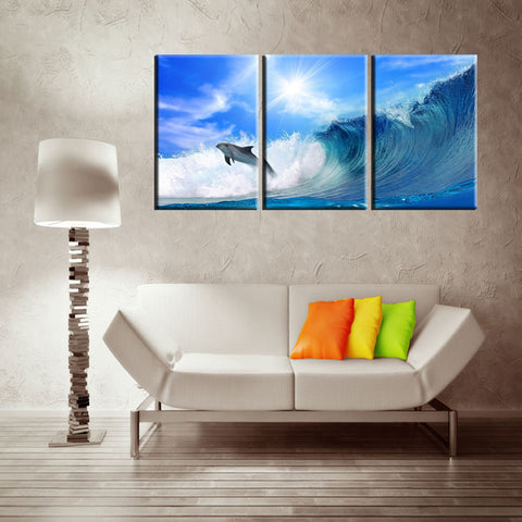 Dolphin Surfing 3 Pcs Wall Canvas -  - TheLedHeroes