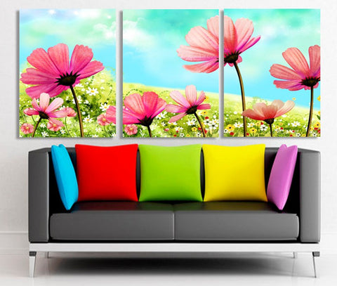 Flowers field 3 Pcs Wall Canvas -  - TheLedHeroes