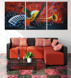 Notes and musical instruments 3 Pcs Wall Canvas