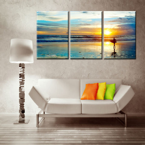 Beautiful sunset under the surfer 3 Pcs Wall Canvas