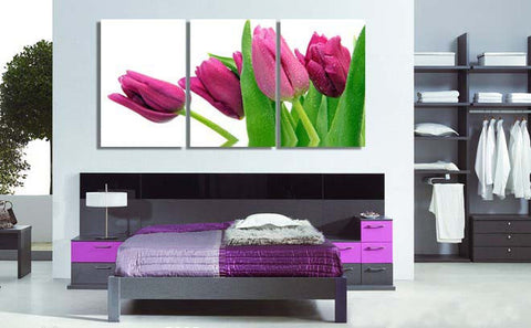 Red Purple Pink Tulips 3 Pcs Wall Canvas -  - TheLedHeroes