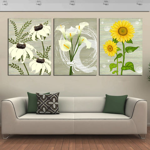 Flowers 3 - 3 Pcs Wall Canvas -  - TheLedHeroes