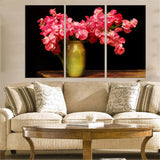 Azo Red Flowers 3 Pcs Wall Canvas