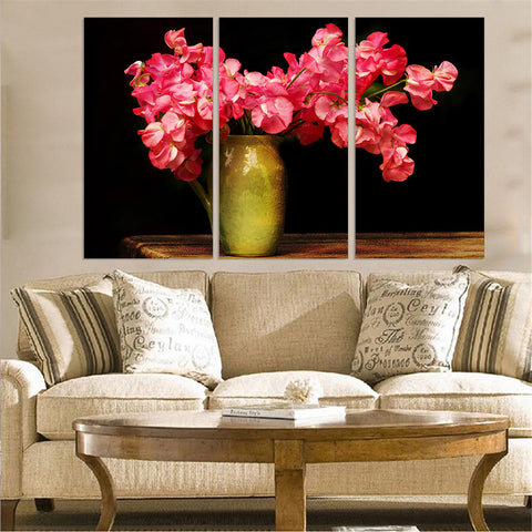 Azo Red Flowers 3 Pcs Wall Canvas -  - TheLedHeroes
