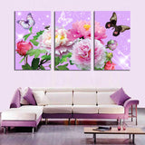 Colorful Flower With Butterfly 3 Pcs Wall Canvas