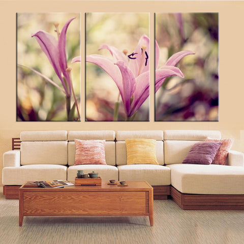 Purple Flower 3 Pcs Wall Canvas -  - TheLedHeroes