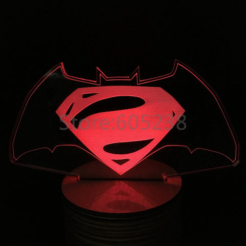 Free Shipping Good for sleeping Batman vs Superman Logo Lamp 3D Laser Engraved Remote Control Lights LED Dawn Of Justice