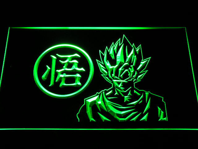 Dragon Ball Z GT Super Saiya Son Goku 2 LED Sign - Green - TheLedHeroes
