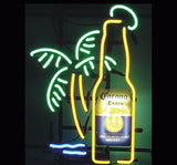 Corona Extra Bottle Palm Tree Neon Bulbs Sign 19x15