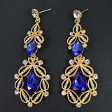 Long Crystal Drop Earrings - blue gold - TheLedHeroes