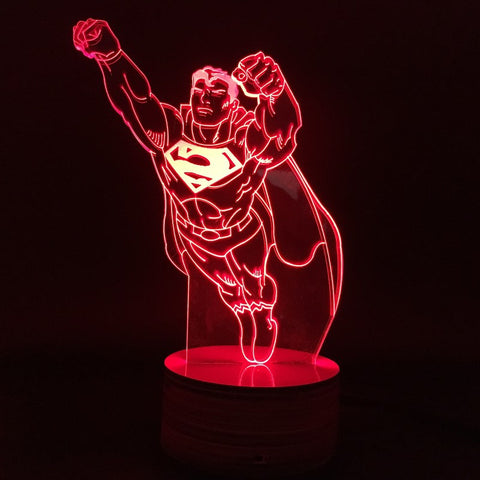 Free Shipping Superhero Clark Kent Flying Superman Figure Color Changing Light Handmade Base  3D Bulbing Lamp