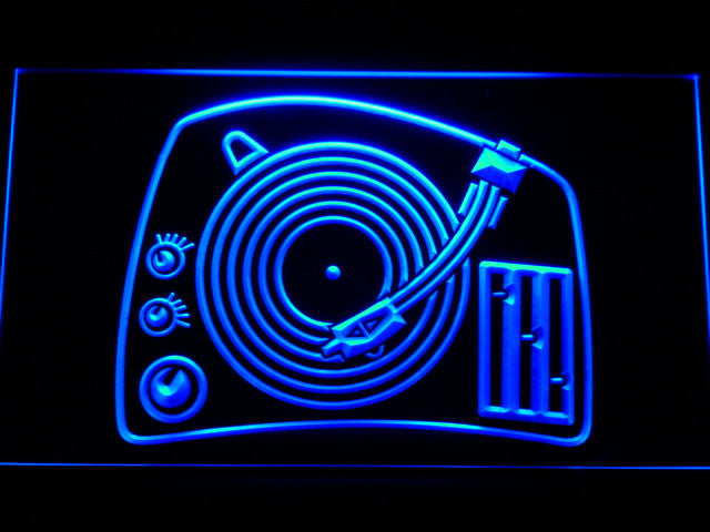 DJ Turntable Mixer Music Spinner LED Sign - Blue - TheLedHeroes