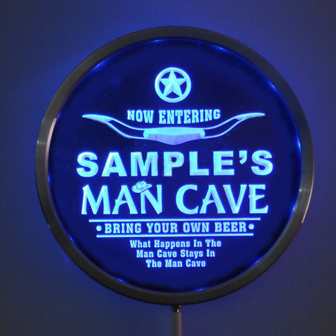 MAN CAVE Room Name Personalized Round Custom LED Sign - Blue - TheLedHeroes