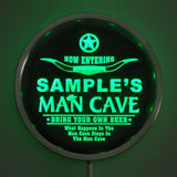 MAN CAVE Room Name Personalized Round Custom LED Sign - Green - TheLedHeroes