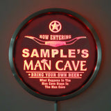 MAN CAVE Room Name Personalized Round Custom LED Sign - Red - TheLedHeroes