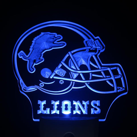 Detroit Lions Helmet Day/ Night Sensor Led Night Light Sign
