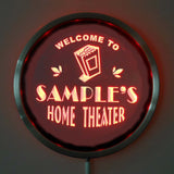 HOME THEATER Name Personalized Round Custom LED Sign - Red - TheLedHeroes
