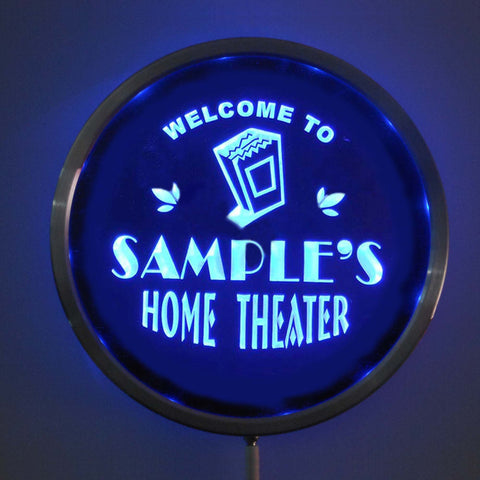 HOME THEATER Name Personalized Round Custom LED Sign - Blue - TheLedHeroes