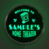 HOME THEATER Name Personalized Round Custom LED Sign - Green - TheLedHeroes