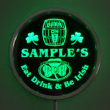 Irish Pub Name Personalized Round Custom LED Sign - Green - TheLedHeroes