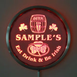 Irish Pub Name Personalized Round Custom LED Sign - Red - TheLedHeroes
